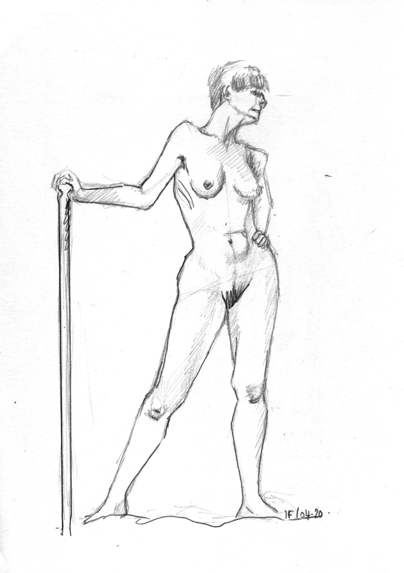 Monika -Grande Chaumière, Pose de 15minutes croquis au graphite