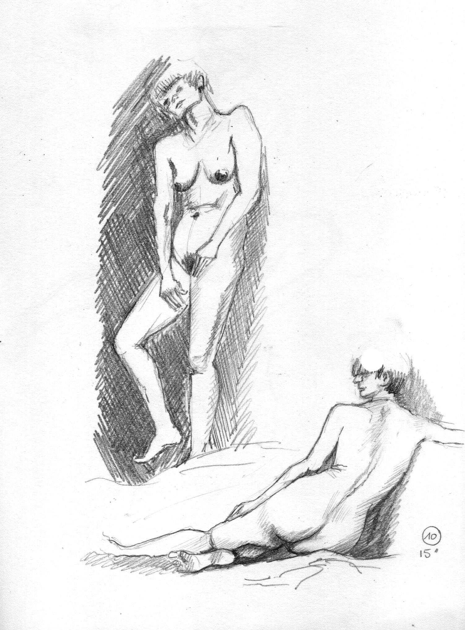 Monika -Grande Chaumière, Poses de 15minutes croquis au graphite