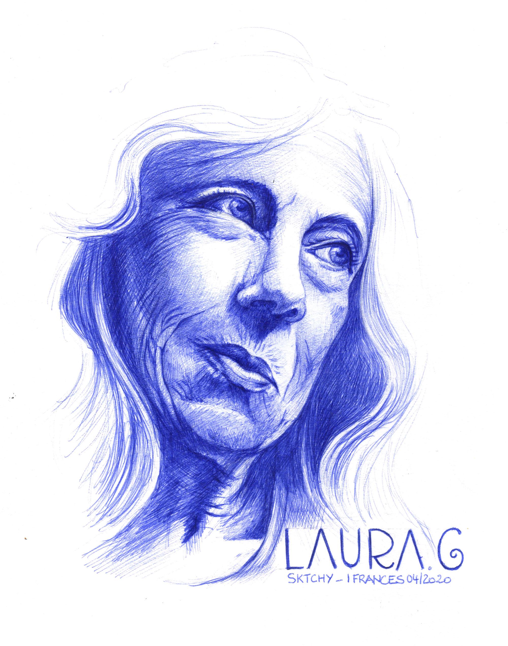 Laura, dessin au stylo à bille ©IF