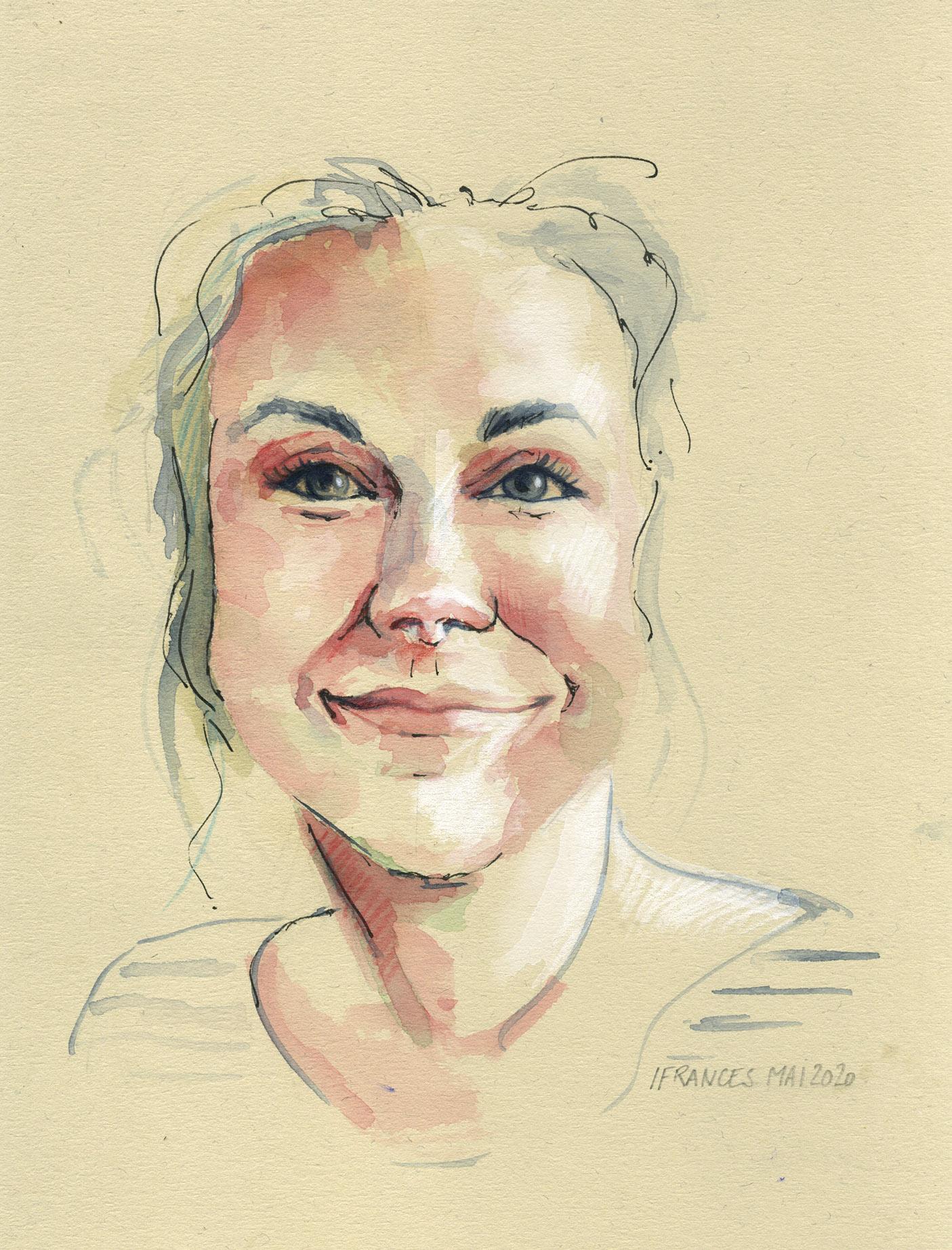 Mandy Simpson, Modele #TheDaily du 6 mai su #Sktchy - aquarelle , encre et pastel blanc sur papier chiffon Magnani