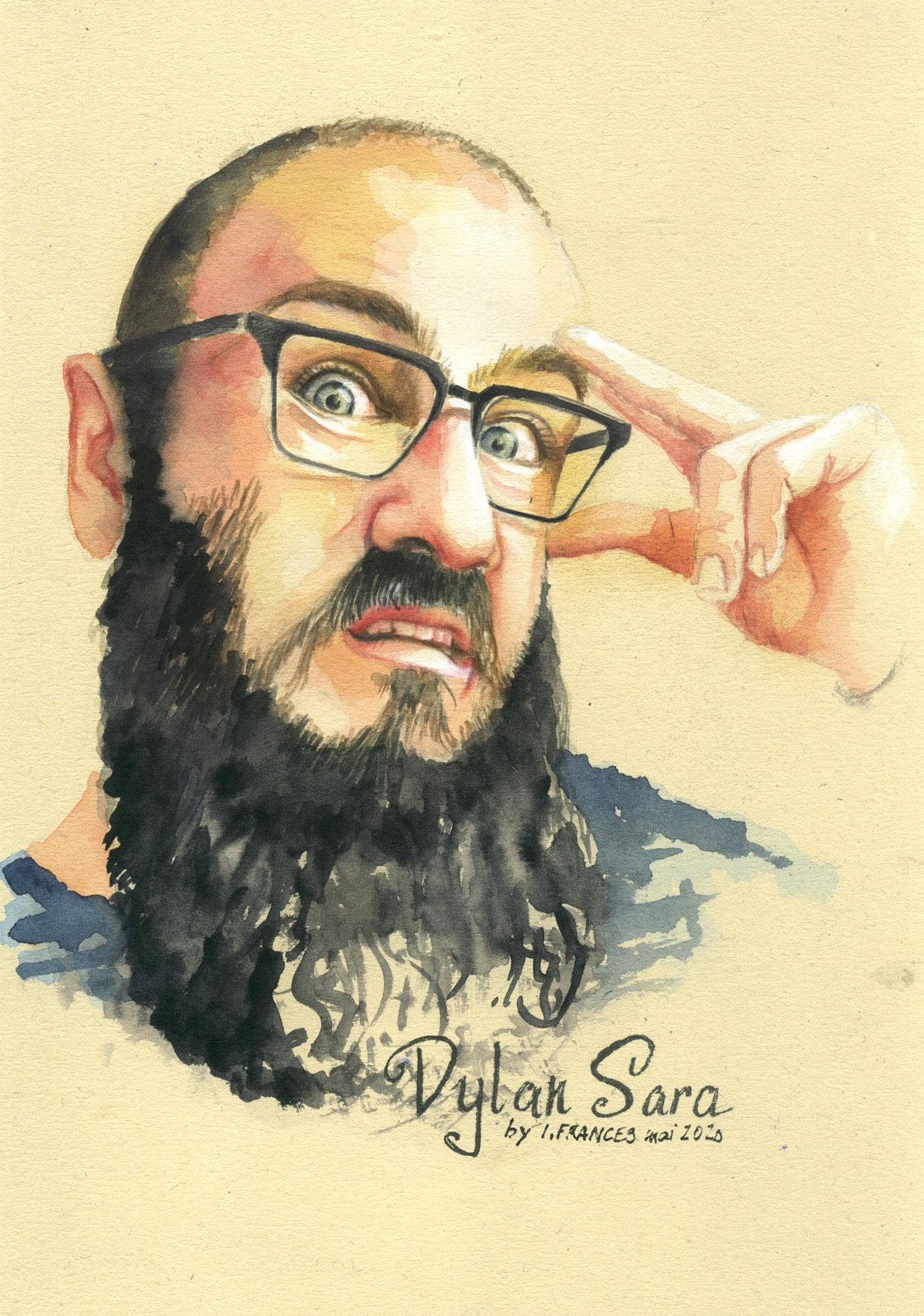 Portrait à l'aquarelle de Dylan Sara, d'apres une photo Sktchy - ©IF