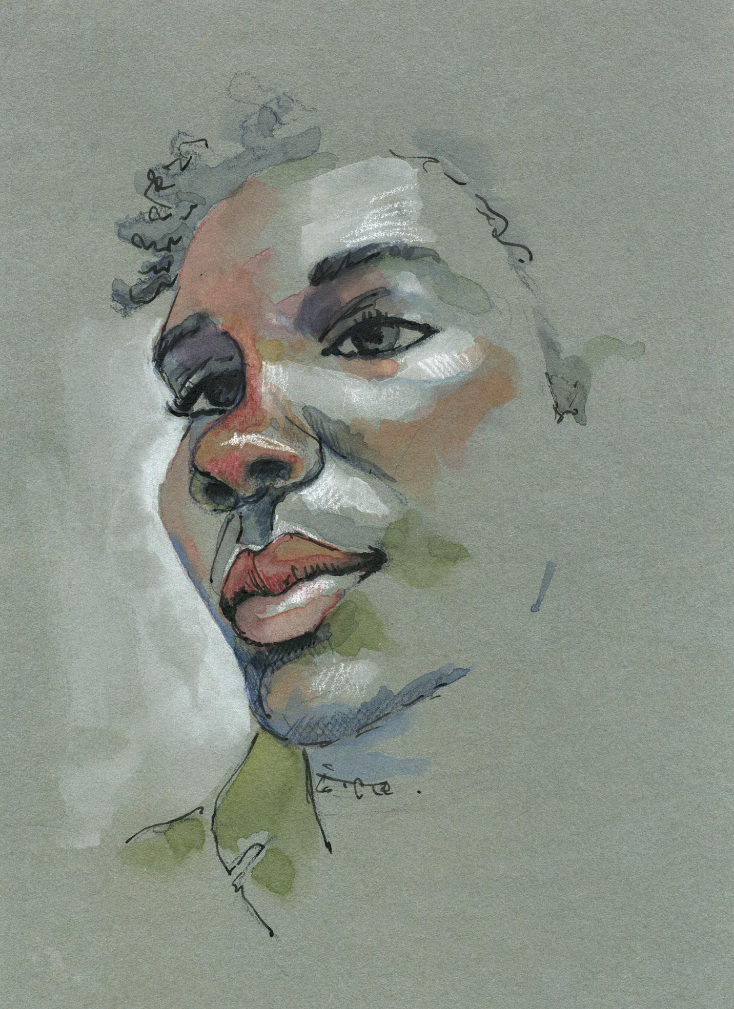 Keyasia Morris Modele Sktchy, aquarelle, encre et pastel blanc sur papier gris