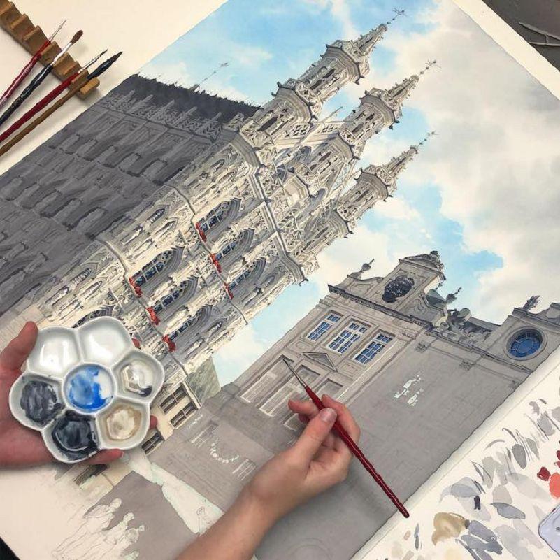 03-Eleanor-Mill-immortalise-a-l-Aquarelle-lArchitecture-du-vieux-Monde-europeen