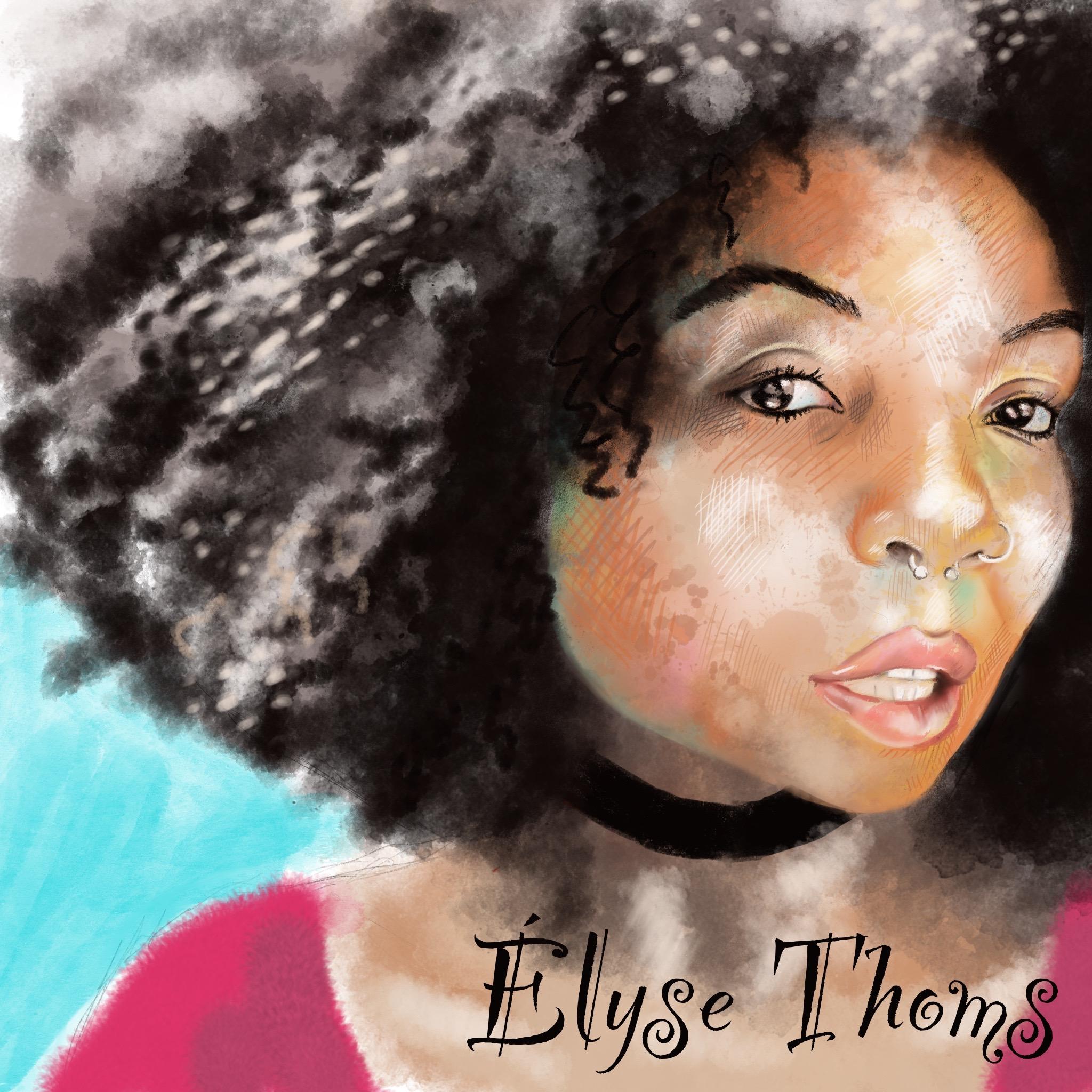 Portrait d'Elyse Thoms  sur Procreate, modèle Sktchy- techniques d'aquarelle -©IF