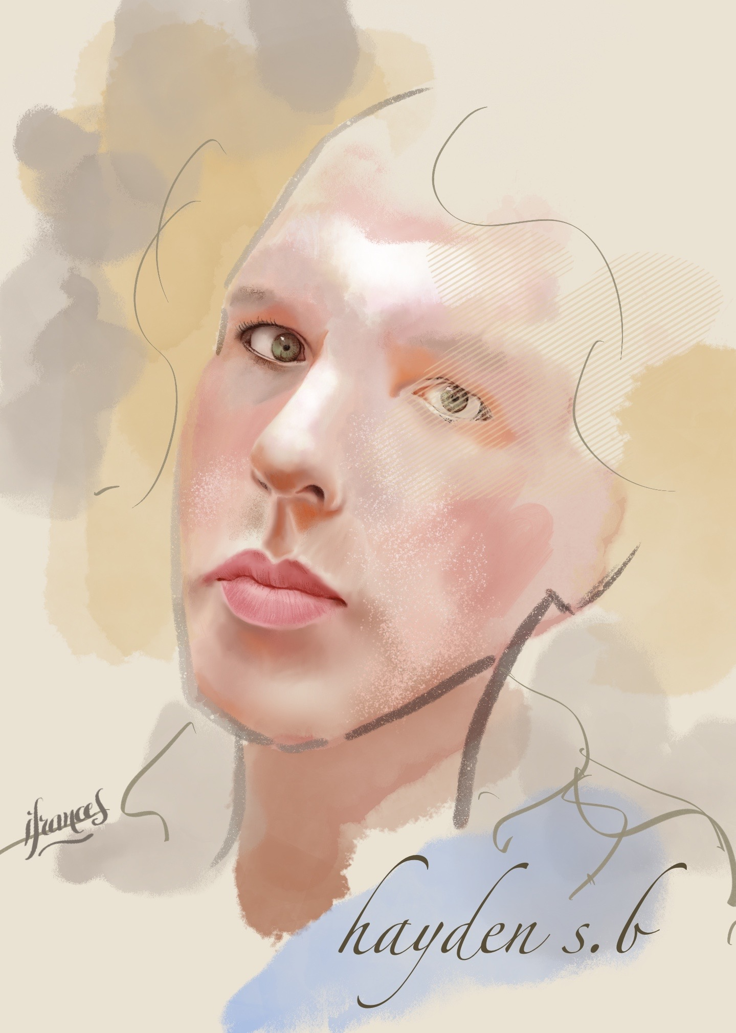 Portrait  sur Procreate, modèle Sktchy- essai et recherche de pinceaux -©IF