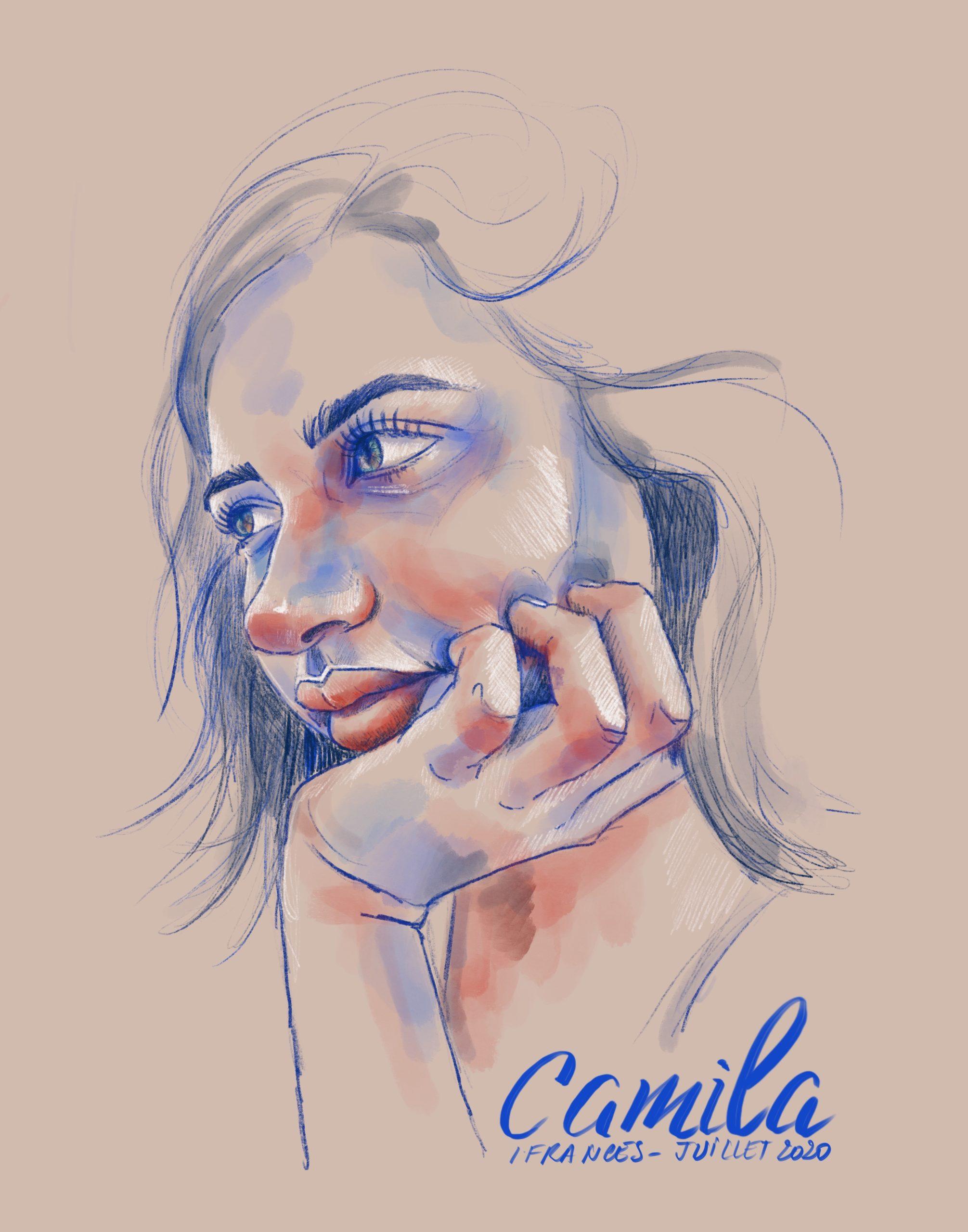 Portrait numérique , dessin au crayon et à la gouache sur Procreate