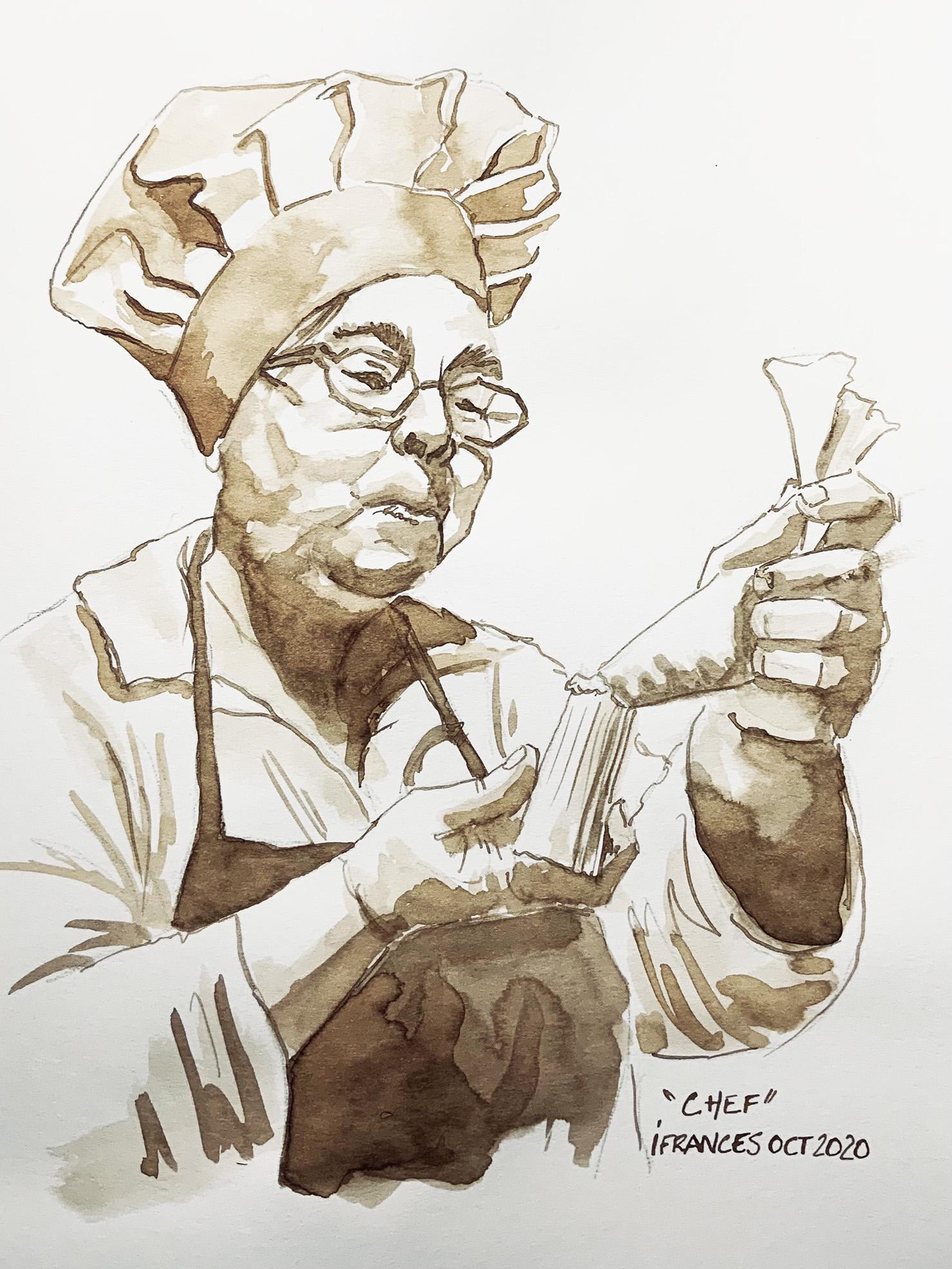 Portrait au Brou de noix de Rosi modele Sktchy, Mot du jour : Chef