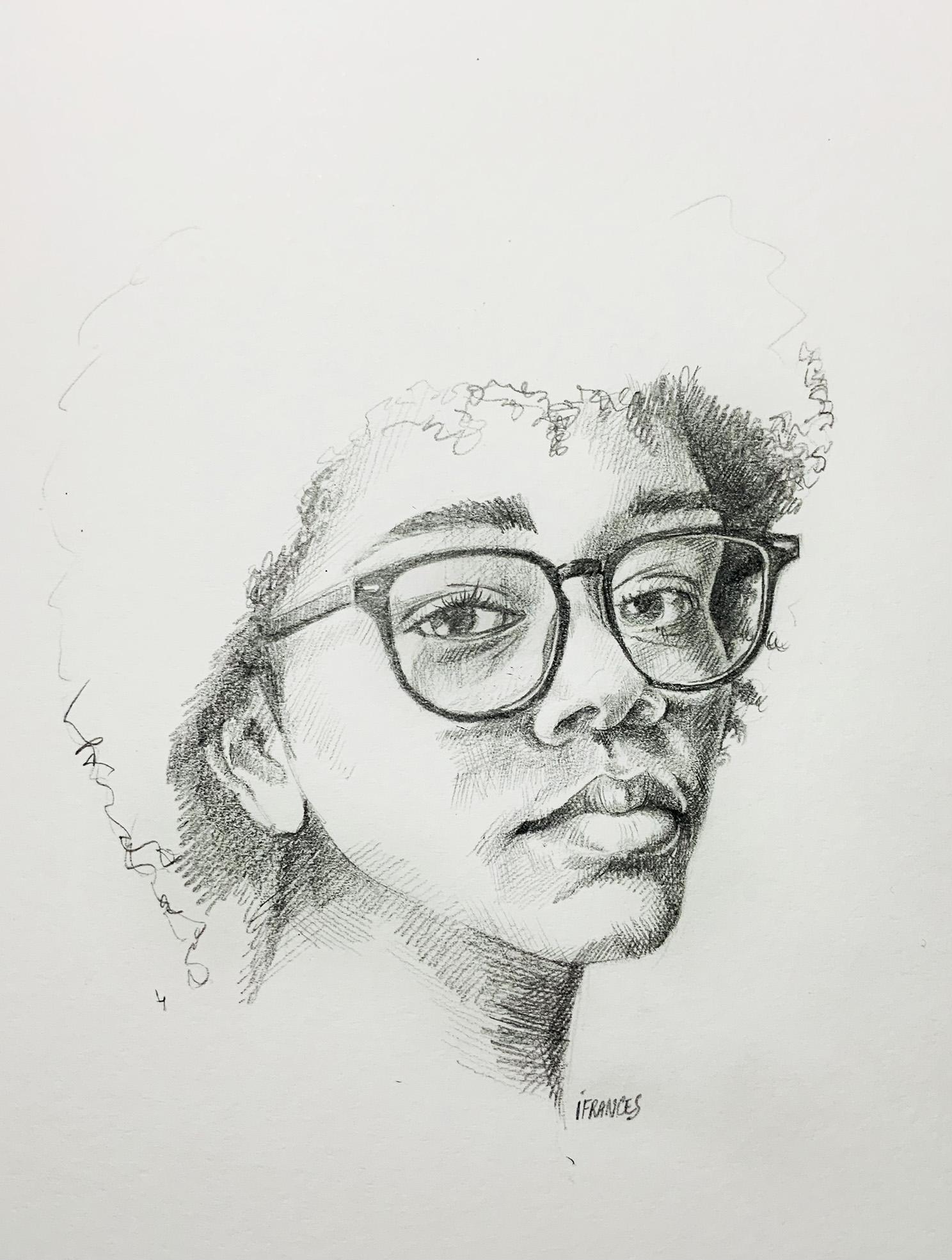 portrait au crayon -Modele Sktchy