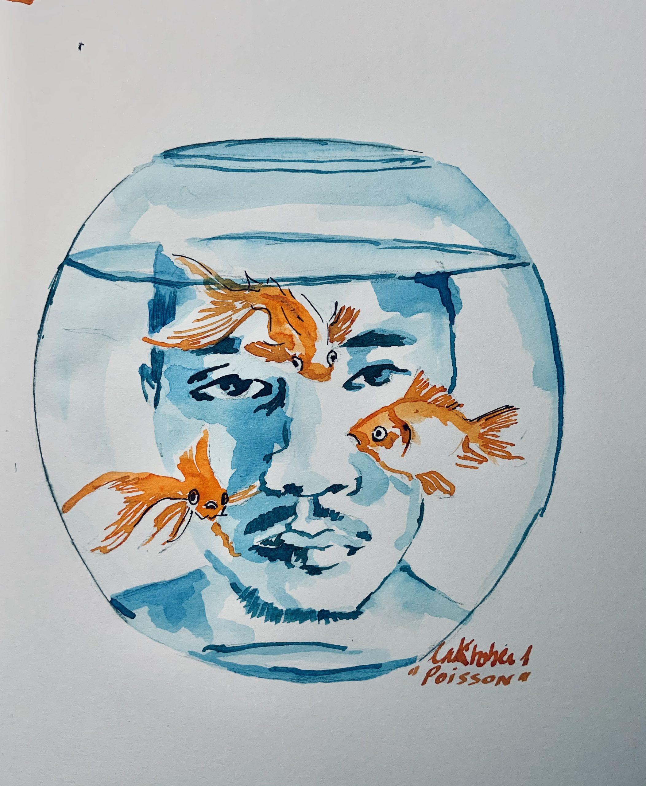 Portrait de Brandon à l'encre bleue  + Poisson, le mot du jour Inktober