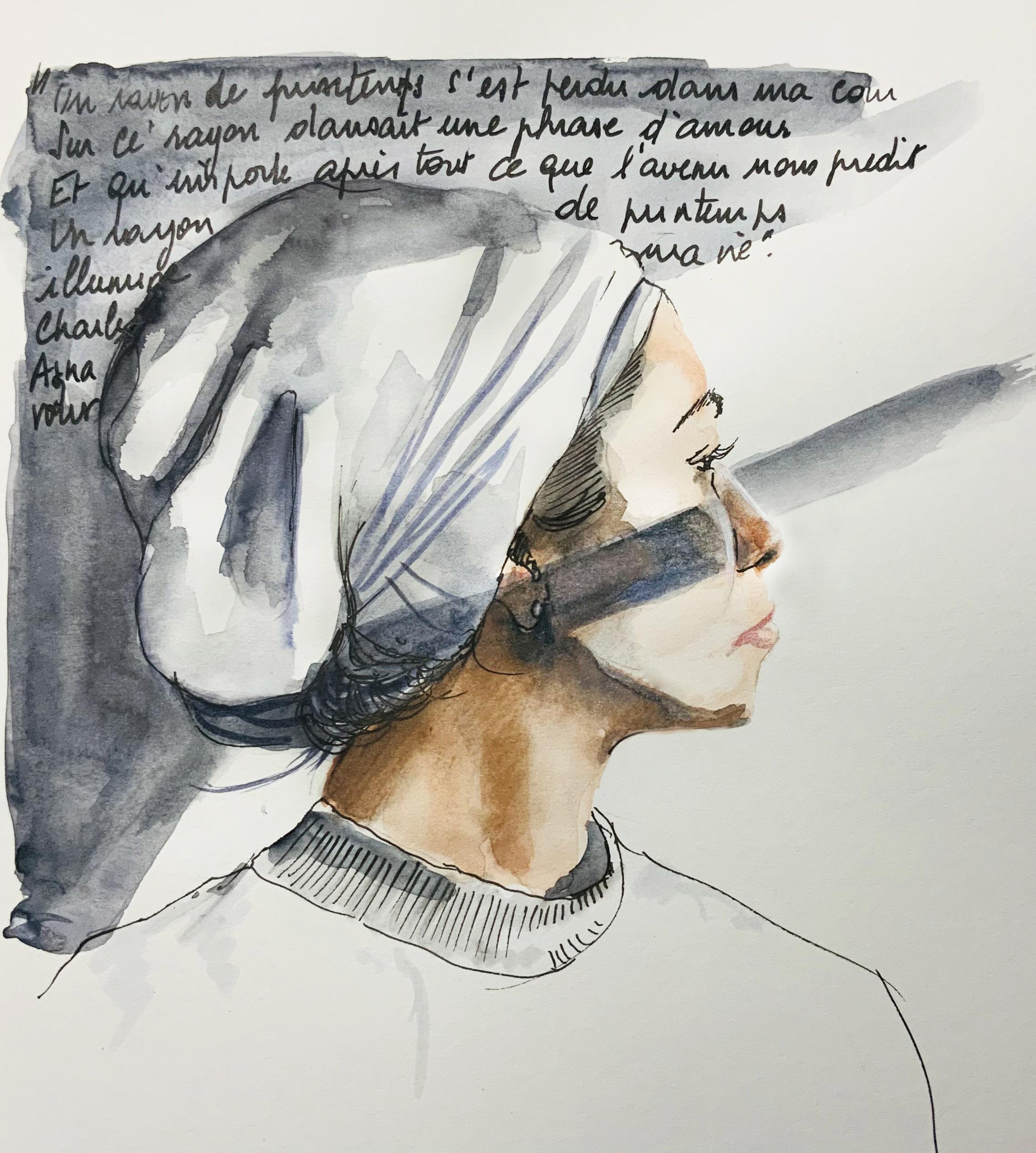 Portrait de Larissa à l'encre et aquarelle d'apres une vidéo de Vin Ganapathy