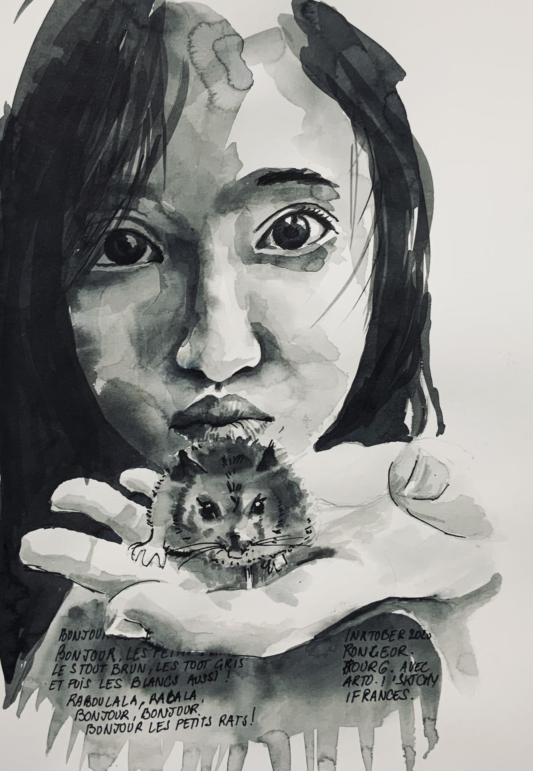 Portrait de Lya à l'encre d'apres une vidéo d'Arto Isotalo