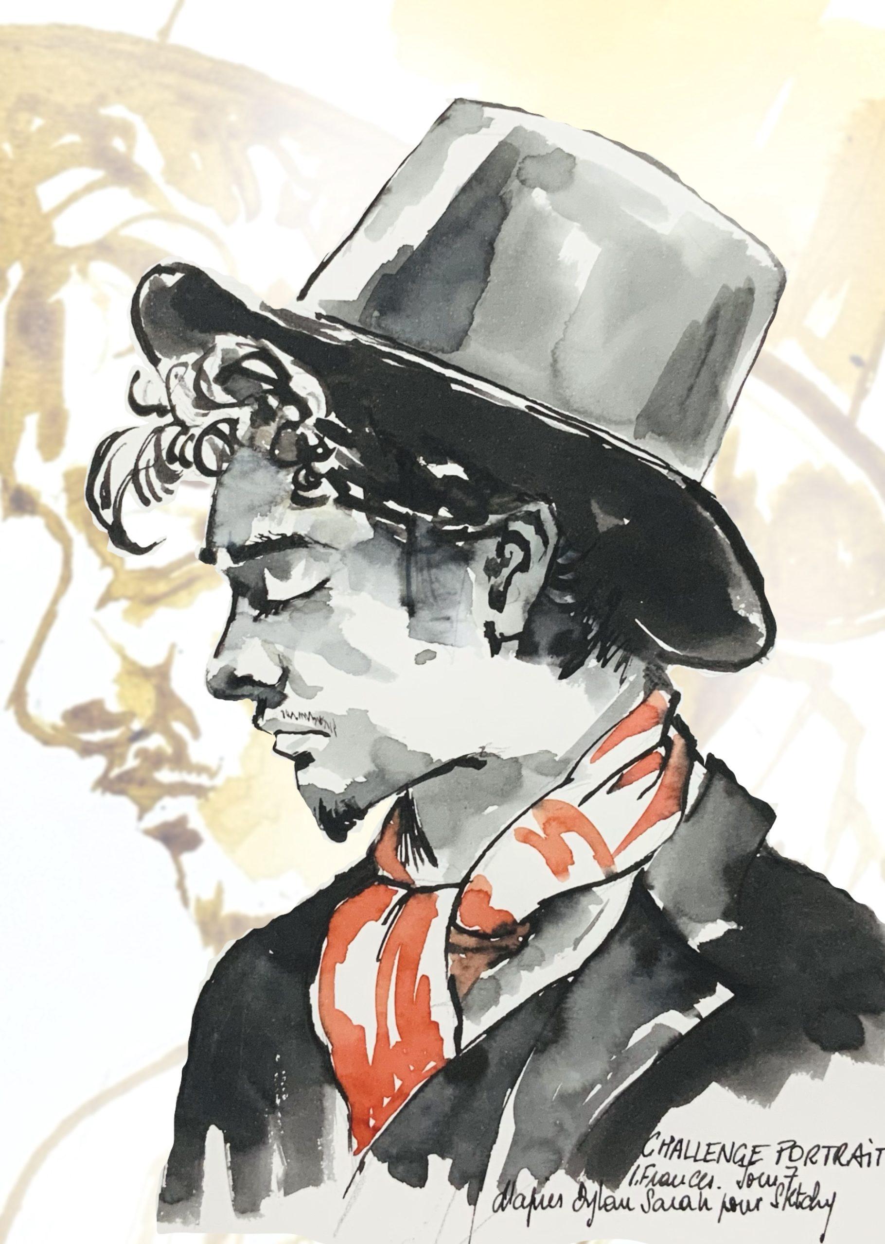 Double portrait Fantaisie avec Dylan Sara - encre ocre, noire et rouge au calame et pinceau