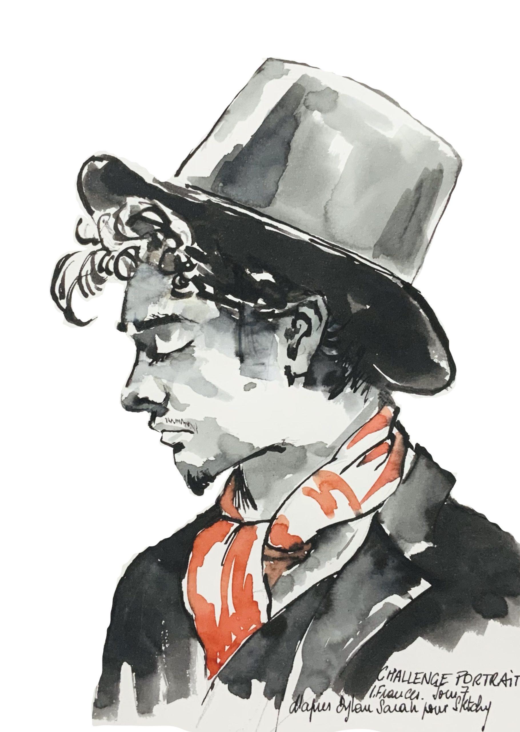 Portrait Fanzy avec Dylan Sara - encre au calame et pinceau