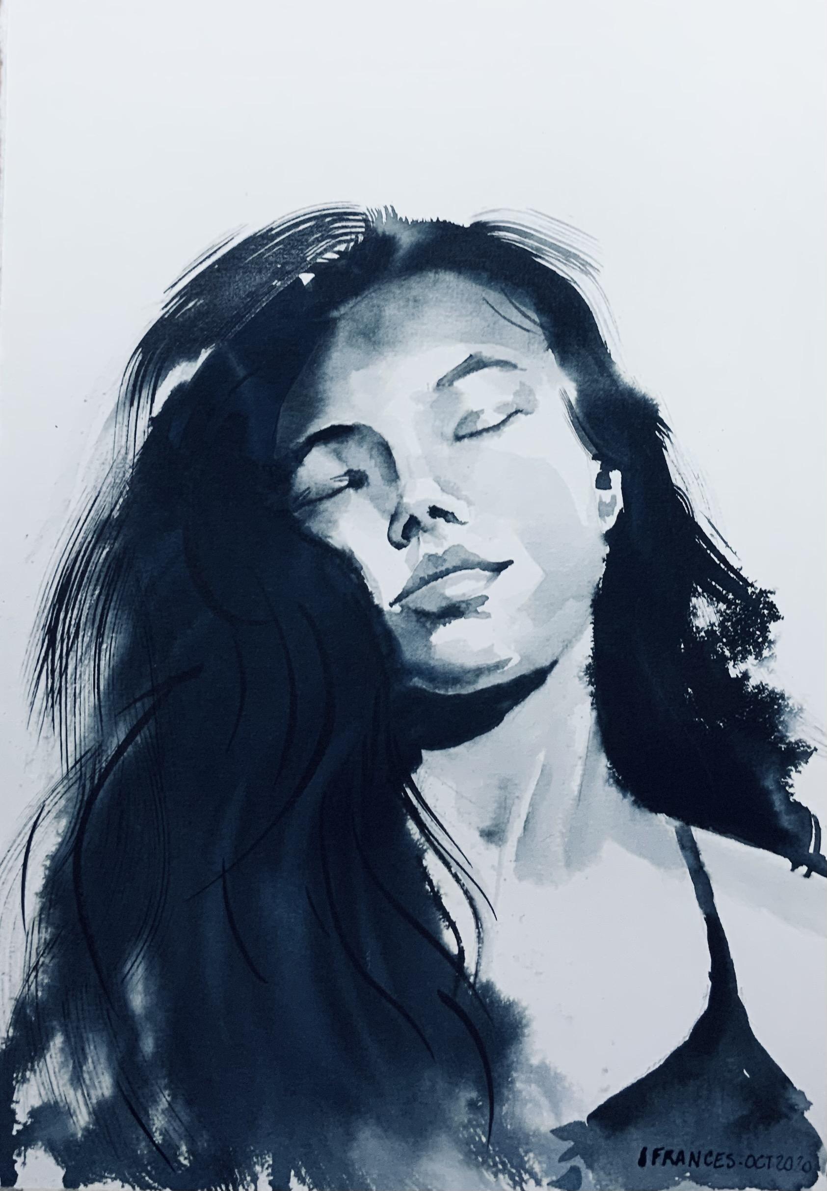 Portrait de Lindsey d'après le tutoriel d'Arto Isotalo- Encre sur papier aquarelle à grain 200gr
