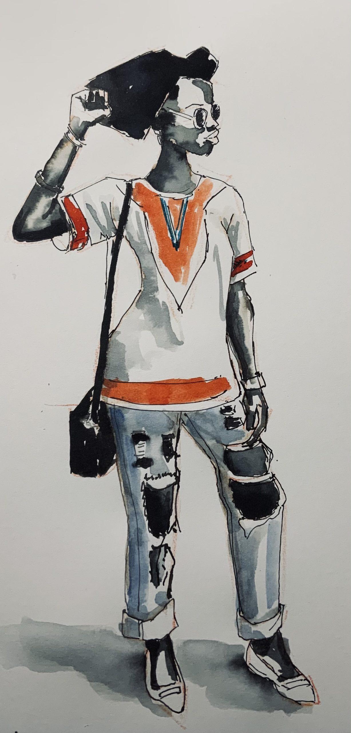 Portrait à l'encre de  Mussu, modèle Sktchy, pour illustrer