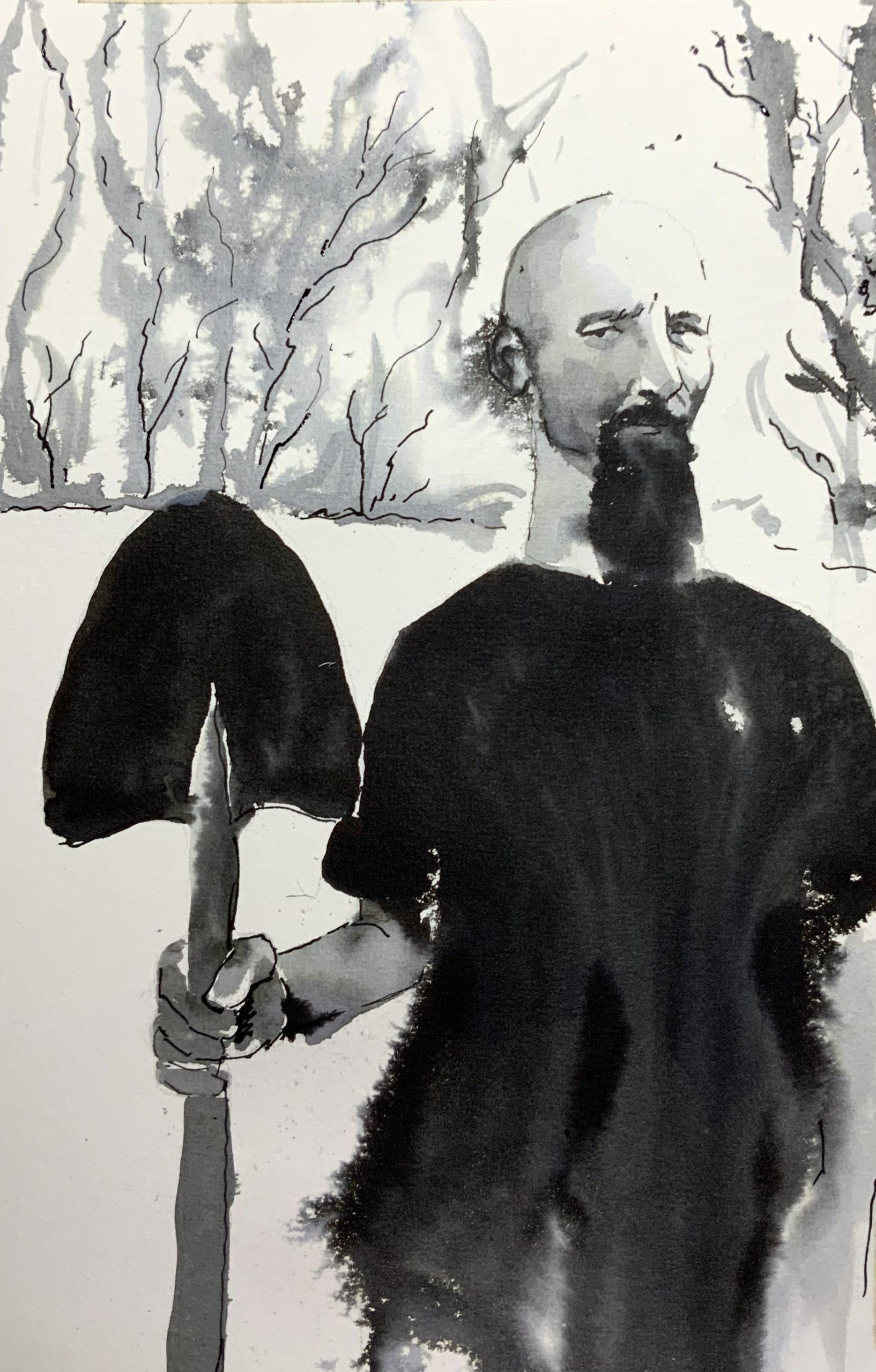 Portrait à l'encre de Rick, modèle Sktchy, pour illustrer
