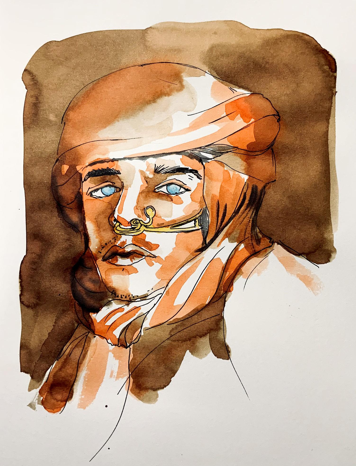 Dessin rapide à l'encre au stylo-Jeandor en personnage de Dune  avec Dylan Sara