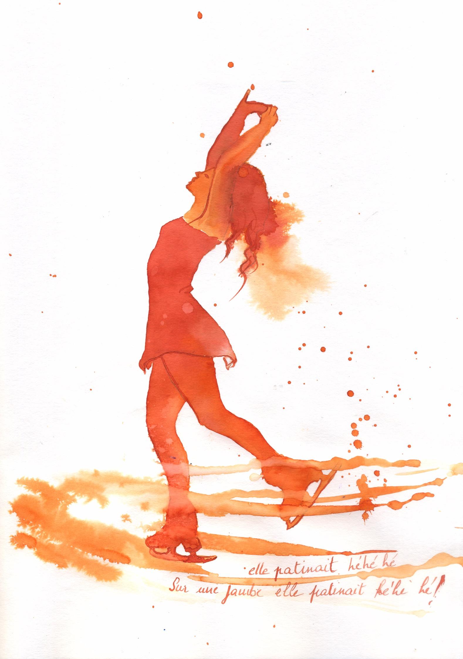 Portrait de patineuse à l'encre d'apres un tuto d'Arto Isotalo