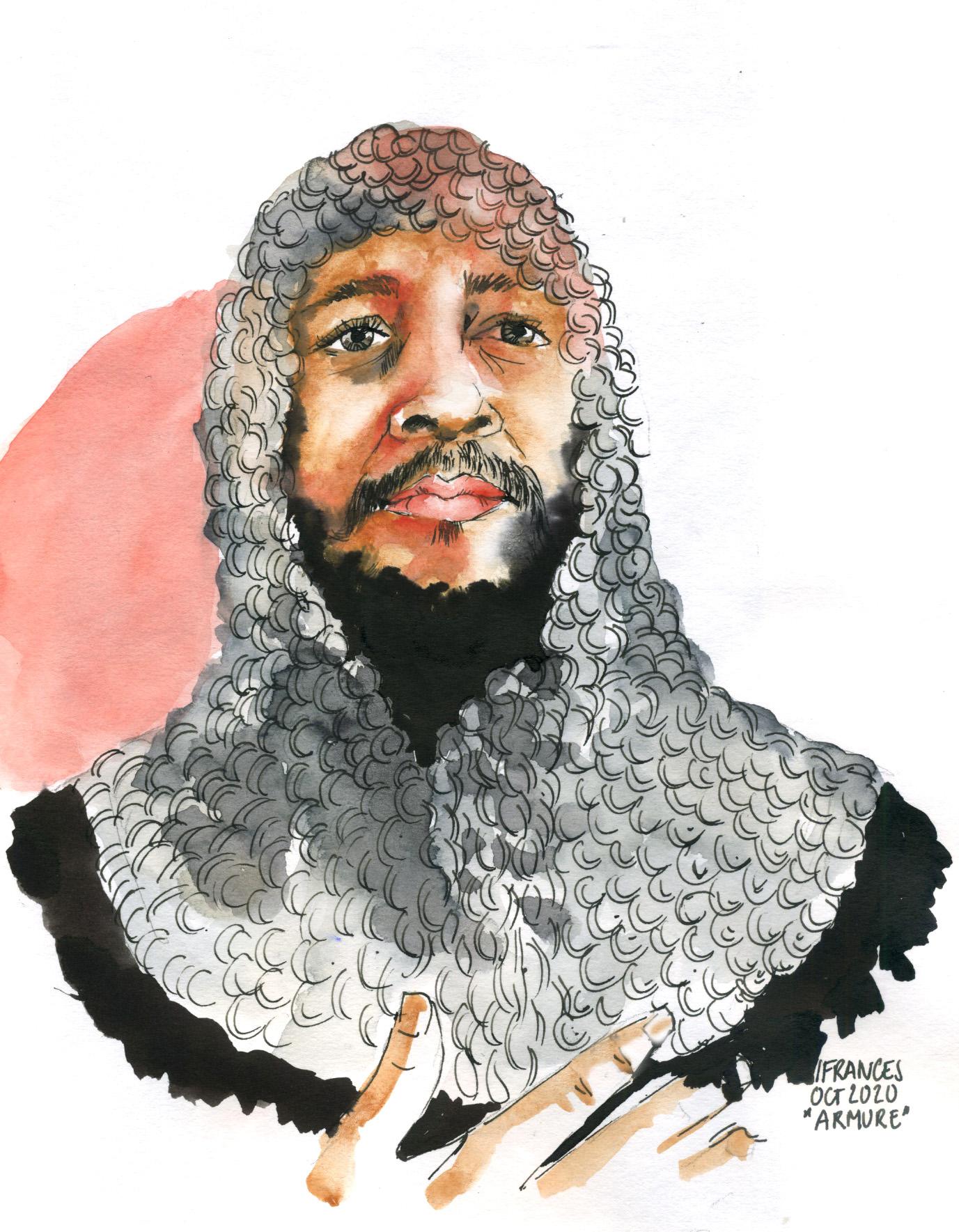 Portrait de Lucas en armure à l'encre et aquarelle d'apres un tuto de Vin Ganapathy