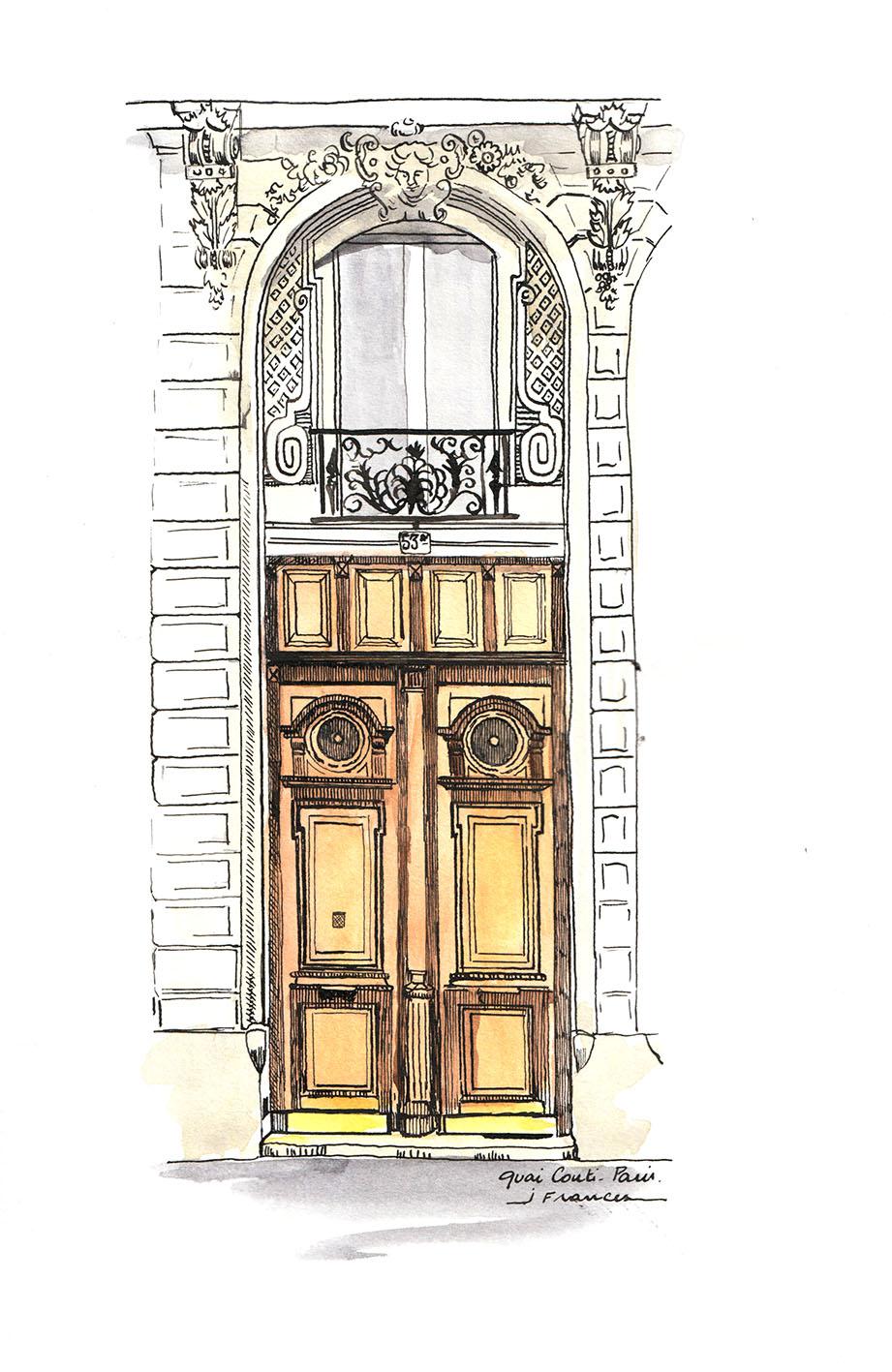 Croquis d'une porte Quai Conti à Paris - ©I.Frances