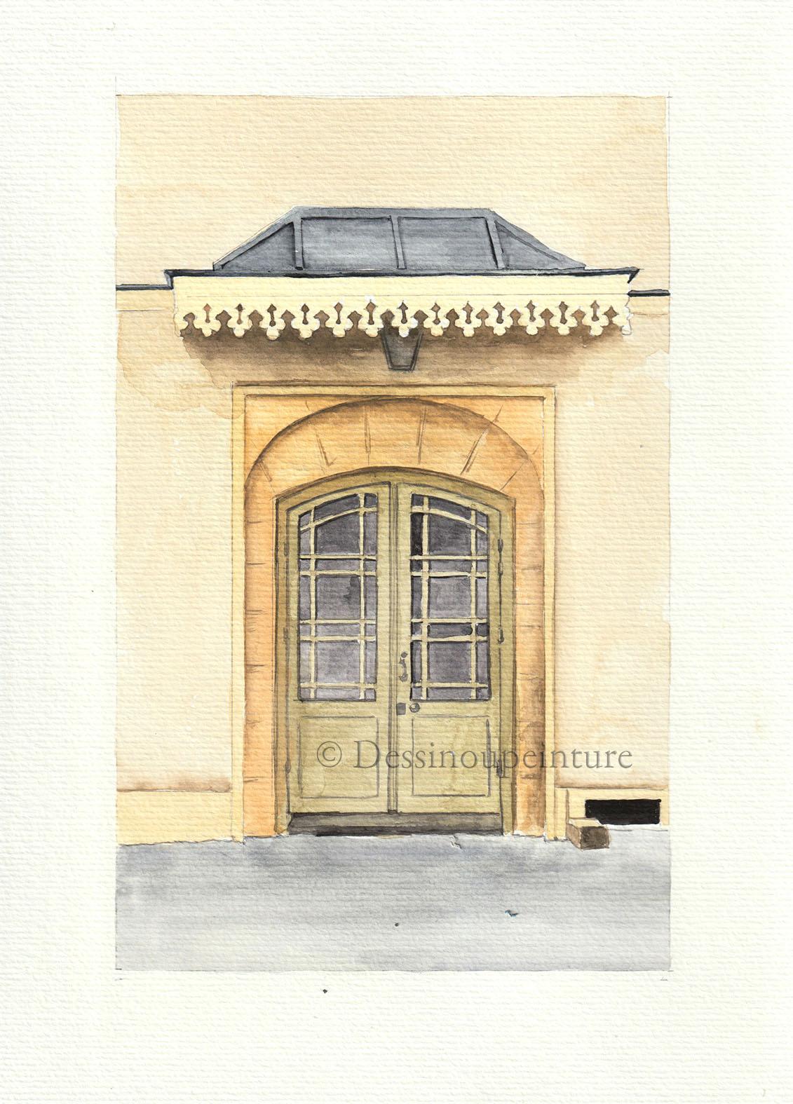 Porte avec marquise dans le quartier du marais -©I.Frances