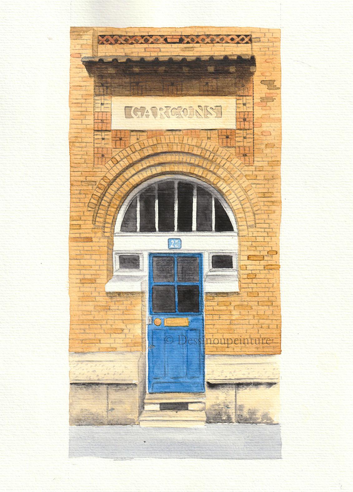 Porte d'entrée de l'école Rouelle-Sextius Michel dans le 15eme -©I.Frances
