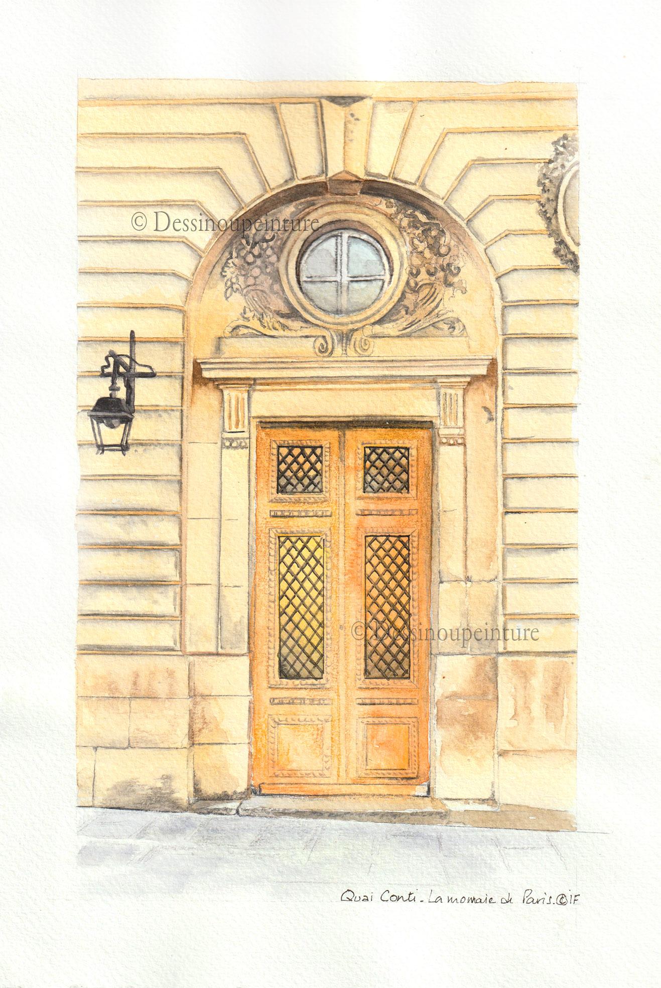 dessin à l'aquarelle d'une porte cochère à Paris