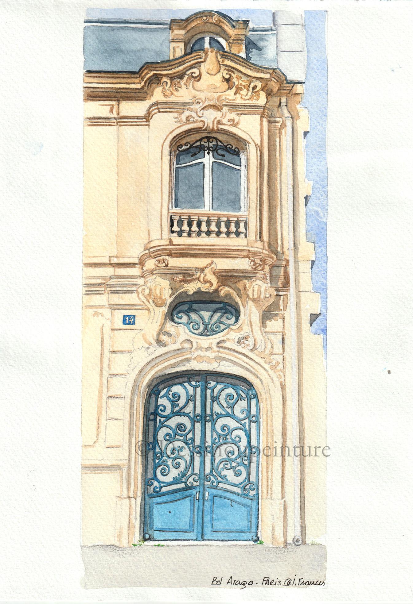 Porte et façade rue Arago Paris 13-©I.Frances