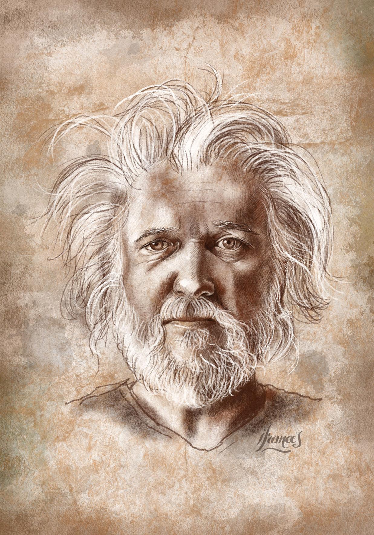Portrait dessiné sur vieux papier d'après Tiffany DaVanzo -©I.Frances 2021