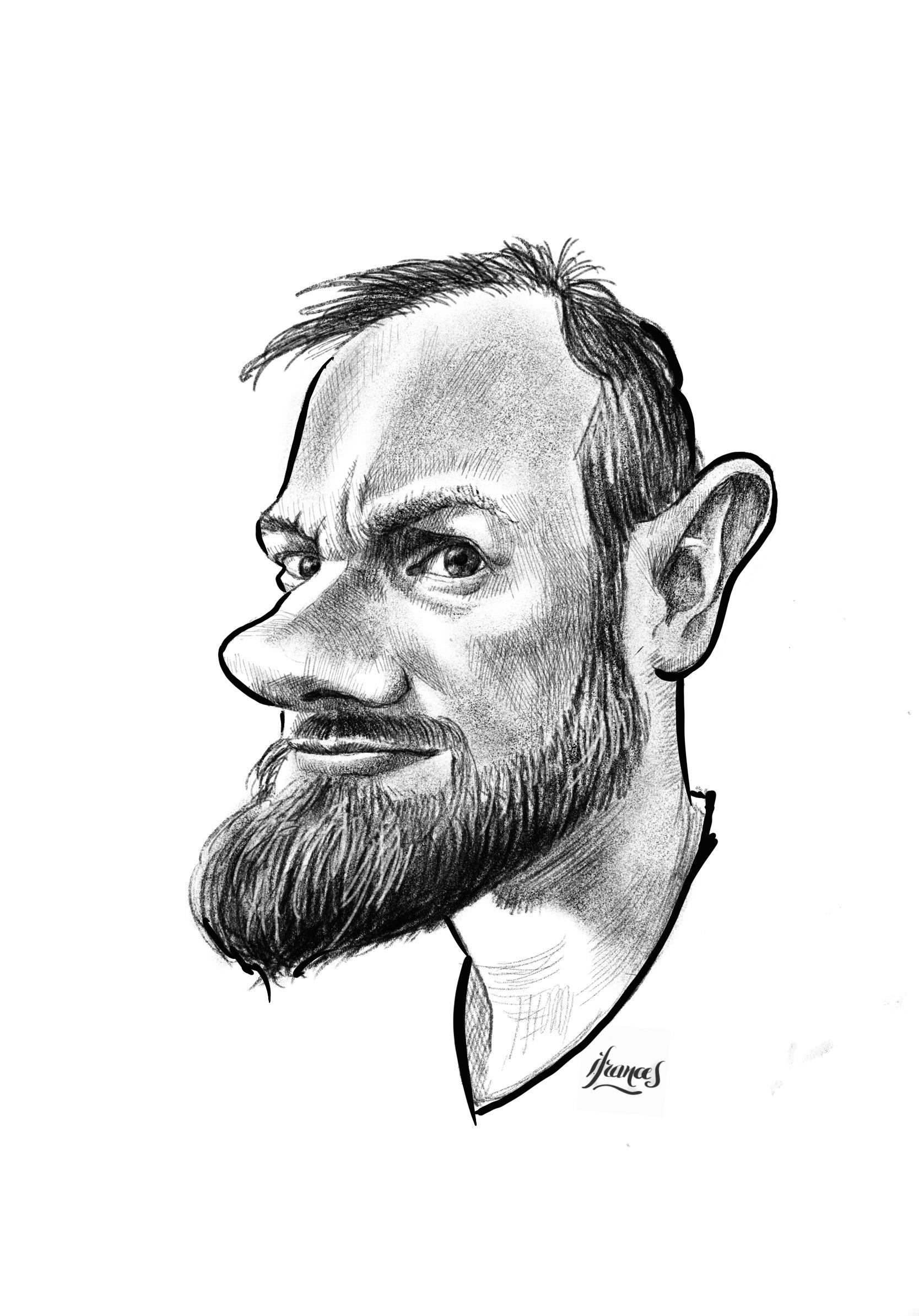 Caricature de Chrisavec l'application Procreate ©I.Frances2021