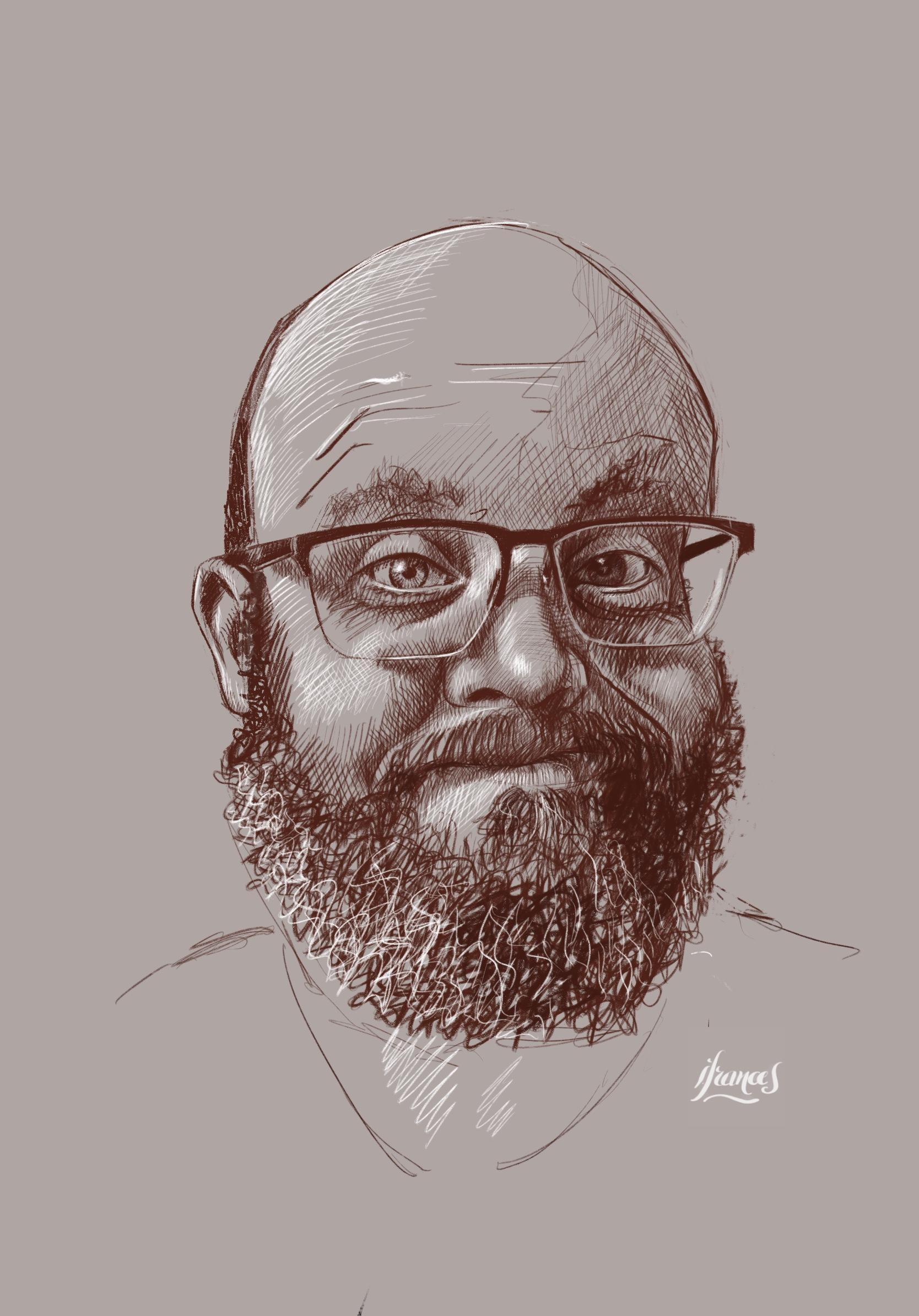 Portrait d'Eric  (modèle ©Sktchy) sur ©Procreate-©I.Frances2021