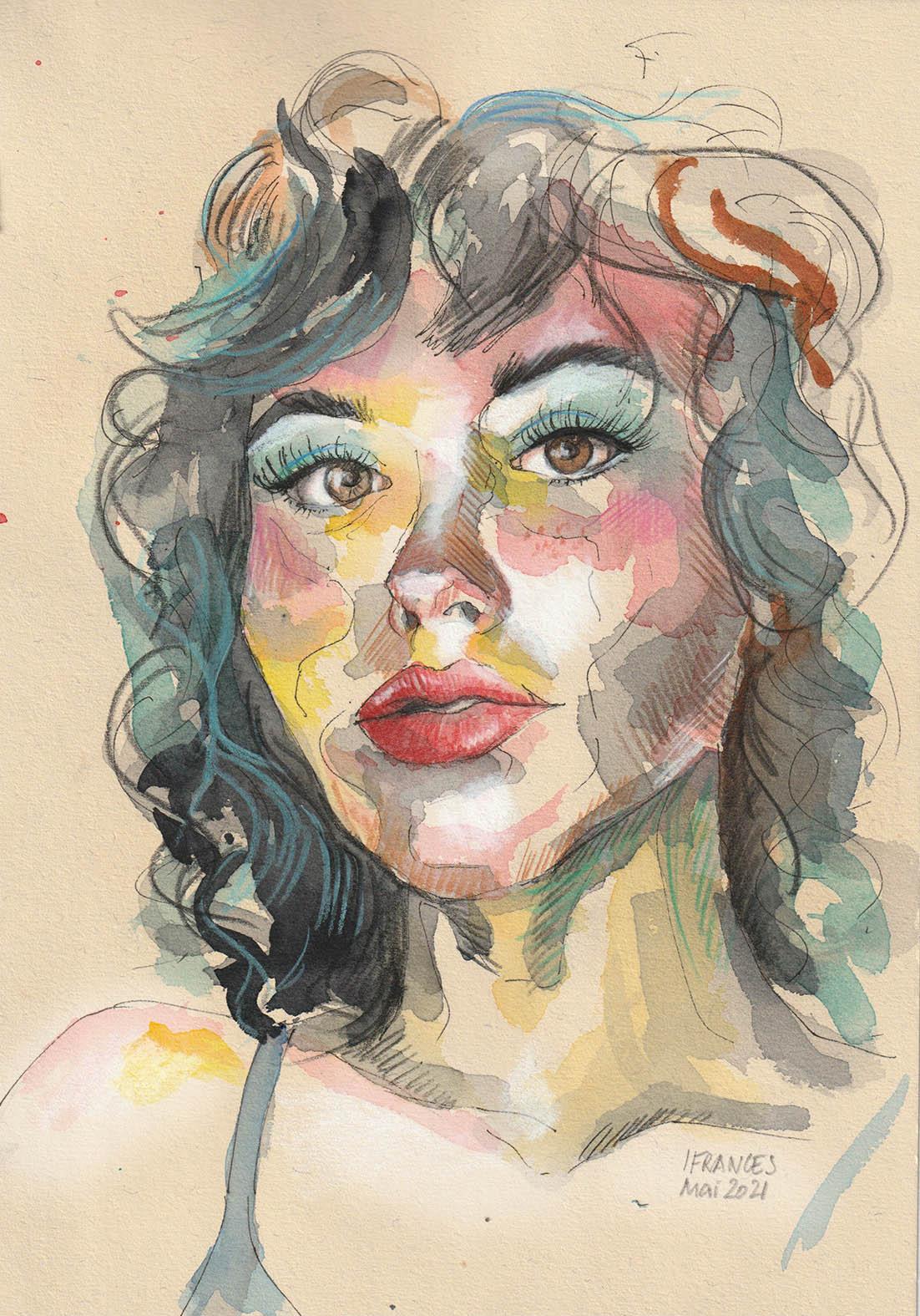 Hannah (Modele Sktchy)- Aquarelle, challenge #30days30faces mai 2021 -©I.Frances