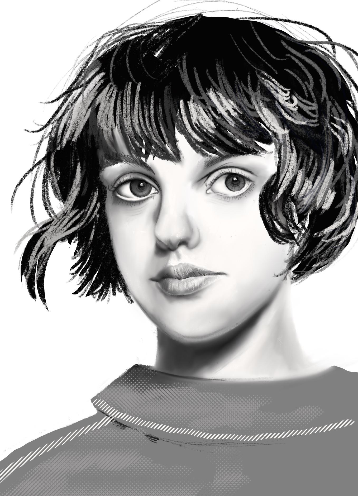 Portrait de Diana en grisaille-©I.Frances2021