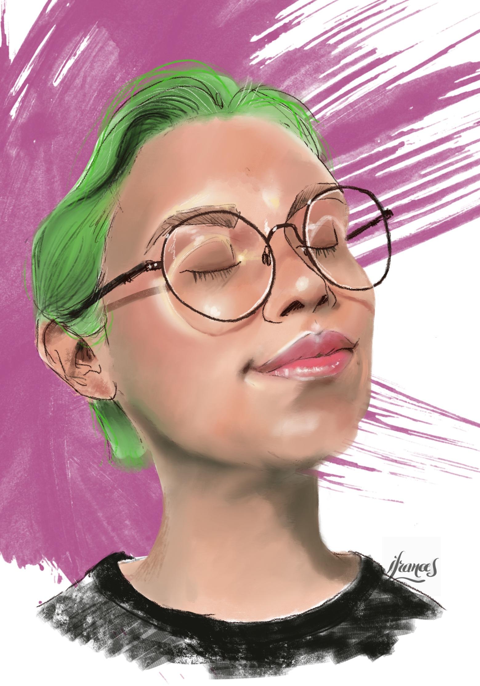 Portrait  (modèle ©Sktchy) sur ©Procreate-©I.Frances2021
