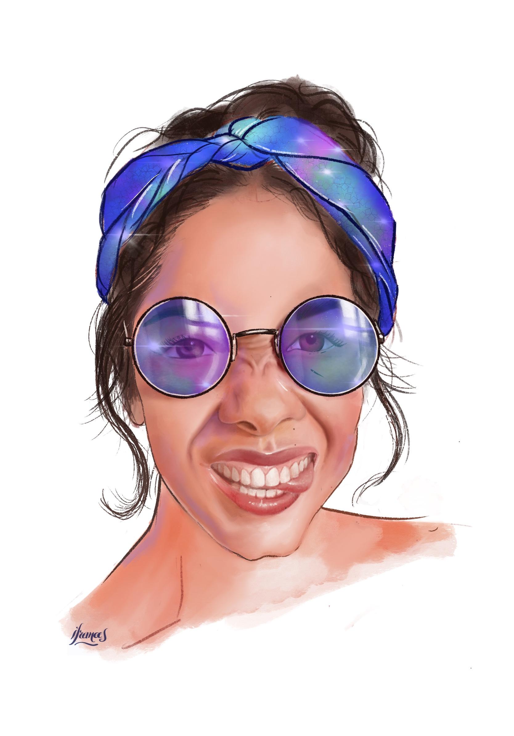 Larissa, Portrait ©Sktchy sur ©Procreate d'après un tutoriel de Tiffany DaVanzo-©I.Frances2021