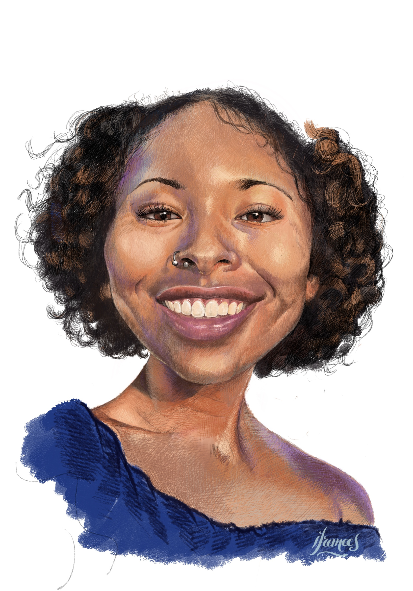 Neshama, dessin numérique aux crayons de couleurs ©I.Frances 2021