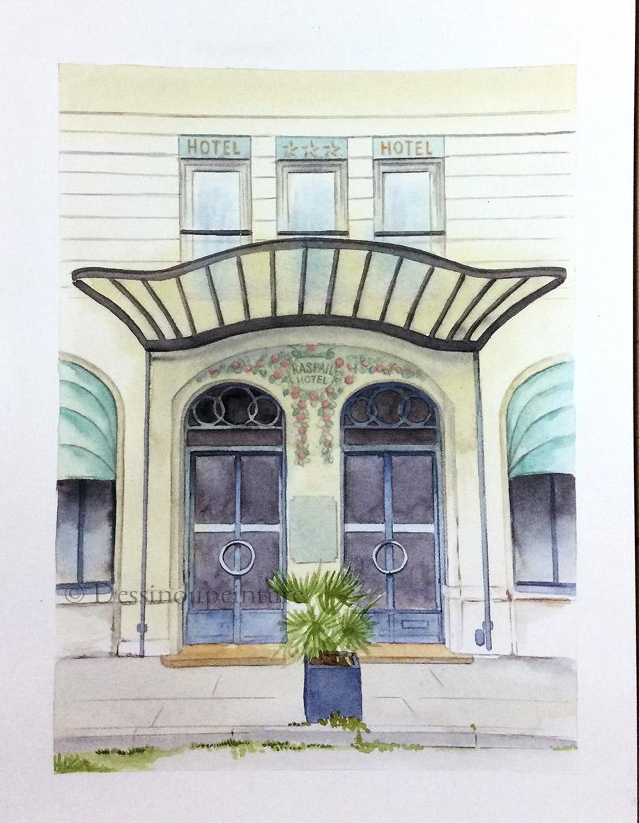 Porte de l'hotel Raspail- Paris