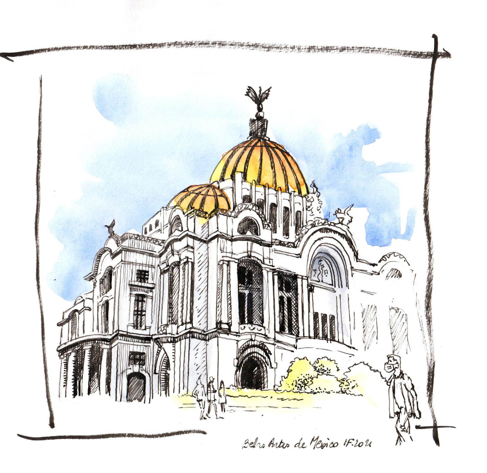 Palais de beaux arts de Mexico, croquis rapide - ©I.F 2021