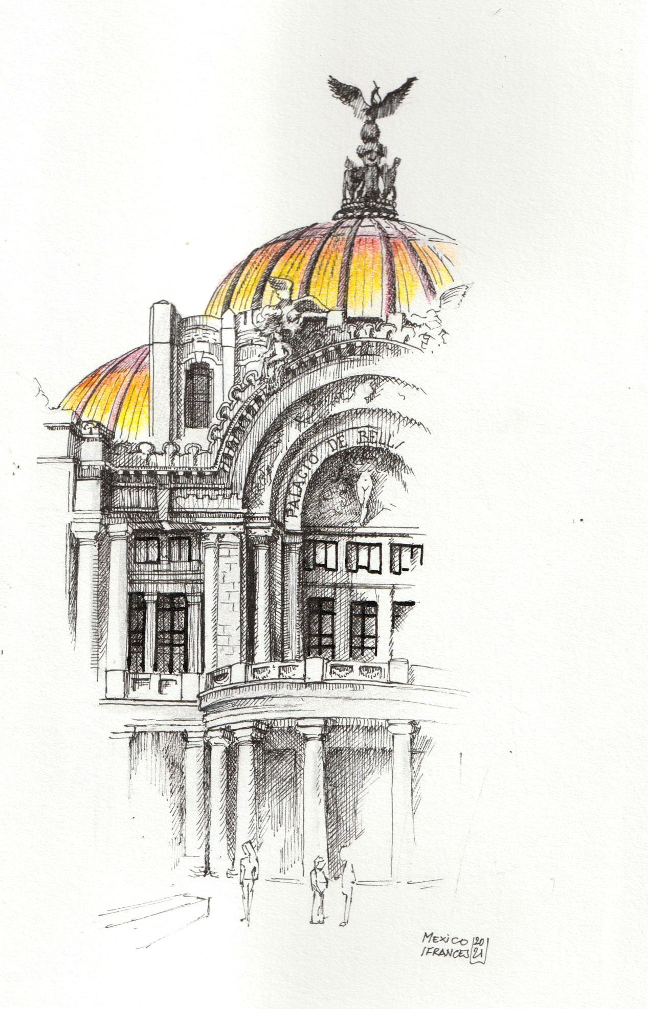 Detail de la façade du palais de Beaux Arts de mexico - ©I.F 2021