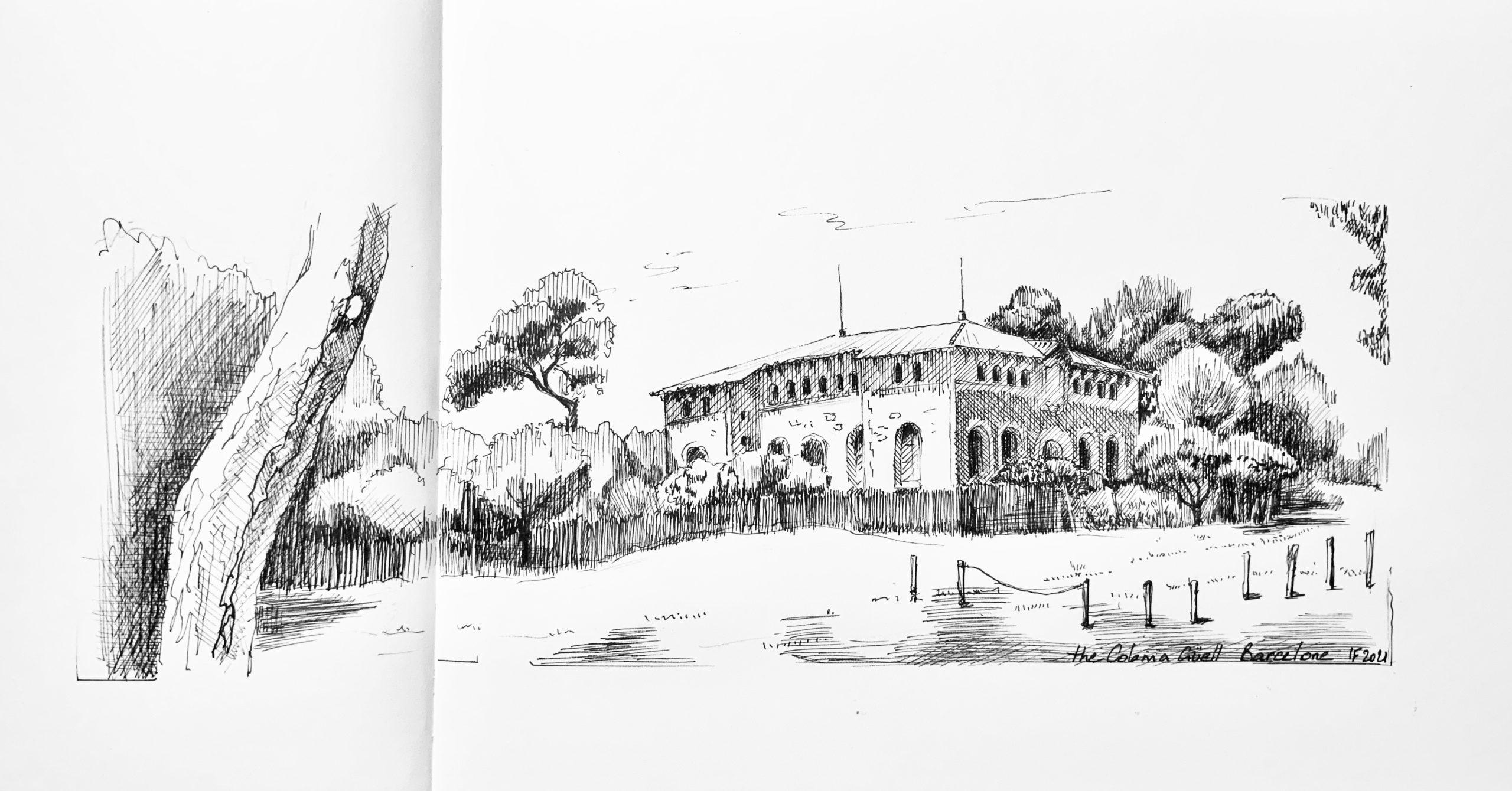 Colonie Güell à Barcelone, dessin à l'encre - ©I.Frances 2021