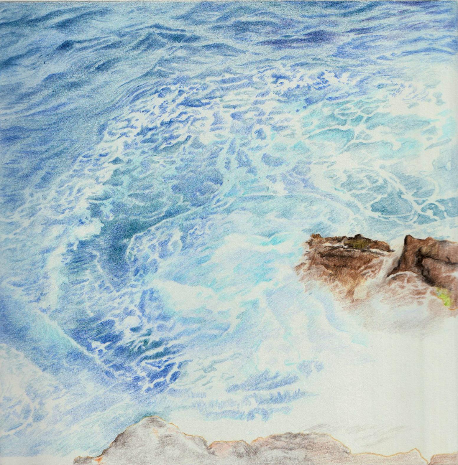 Vagues et rochers, crayons de couleur ©Isabelle.Frances