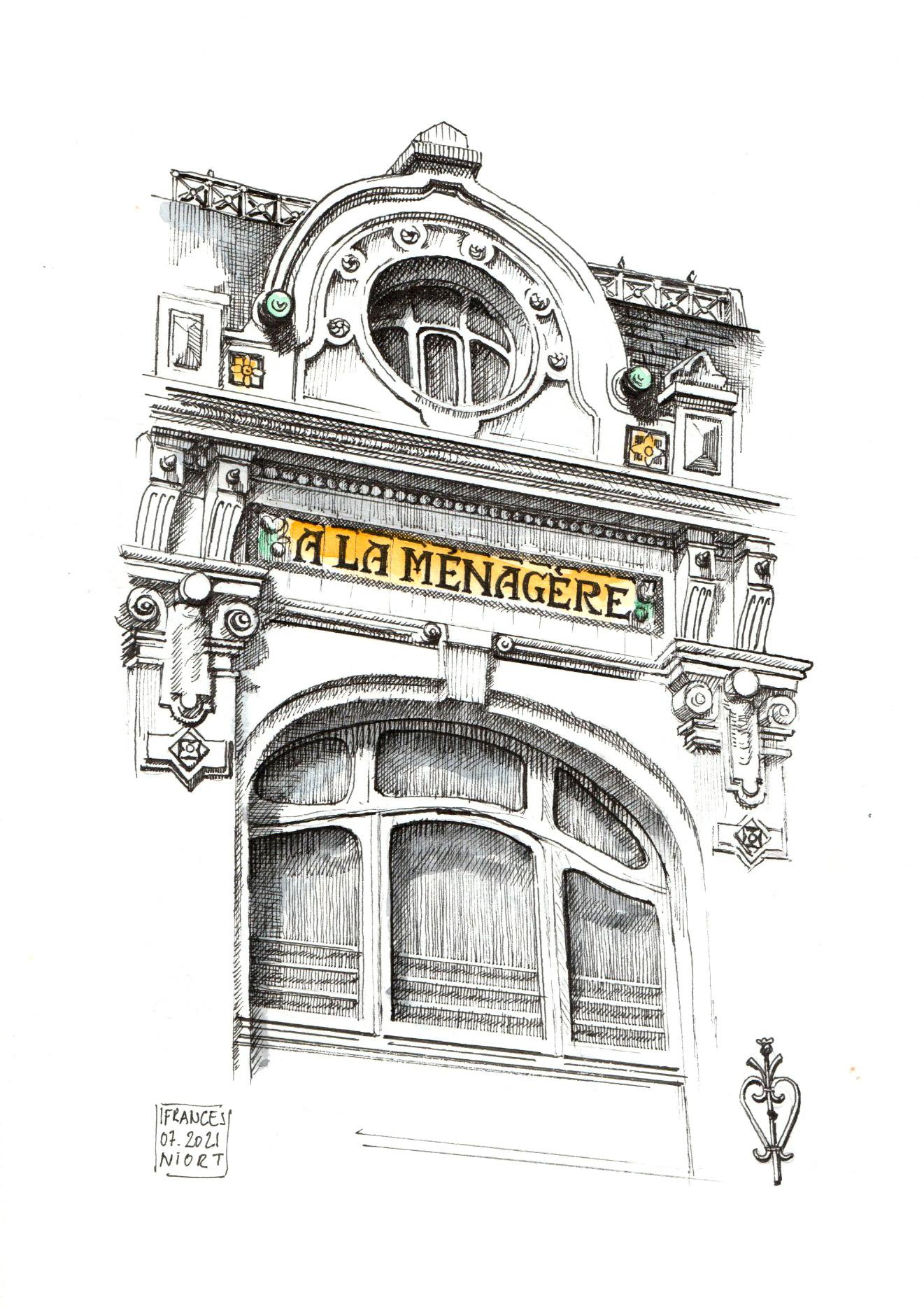Dessin de la facade de la Menagere à Niort - ©I.Frances
