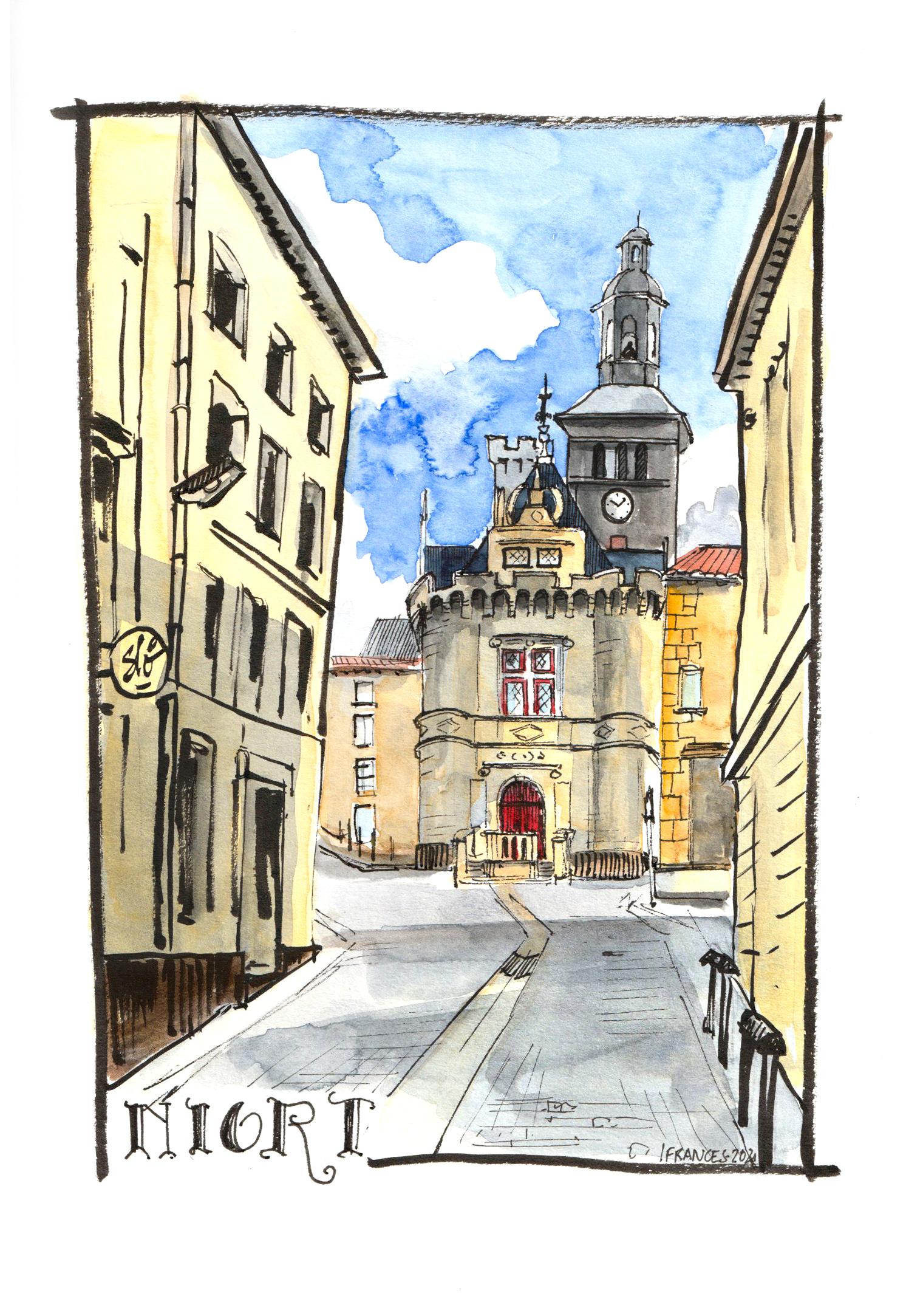 croquis aquarelle du Pilori, ancien Hotel de ville de Niort - ©I.Frances