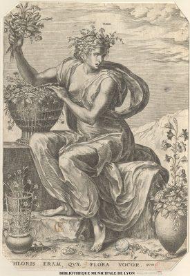 Flore, tirée d'un recueil de 8 estampes dur les déesses;  par Cort, Cornelis, 1533?-1578 Floris, Frans, 1516-1570 Bibliothèque municipale de Lyon