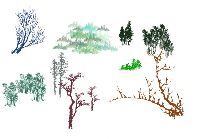 essai de pinceaux fabriqués avec des arbres d'Hokusai