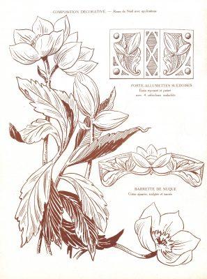 Etude de fleur, l'hellébore  -Extrait de la revue Travaux Artistique - Gallica