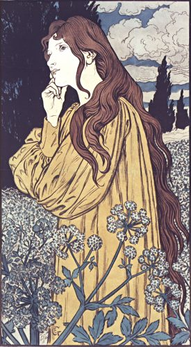 Meditation de Grasset, Gallica, lithographie, coul. ; 89 x 59 cm