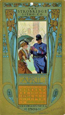 lithographie, calendrier illustré, avril 1906