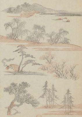 Paysages extrait du Vol3 du Livre manga de Hokusai