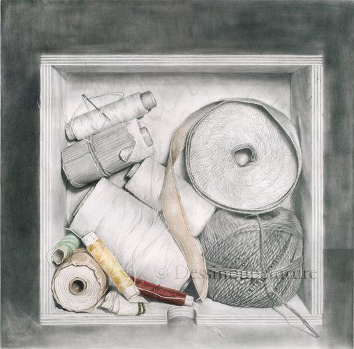 fil, ficelle, bobines, dessin
